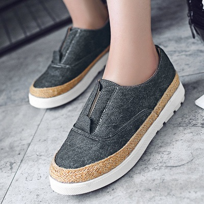 Summer Casual Round Toe Denim Wedge Loafers_10