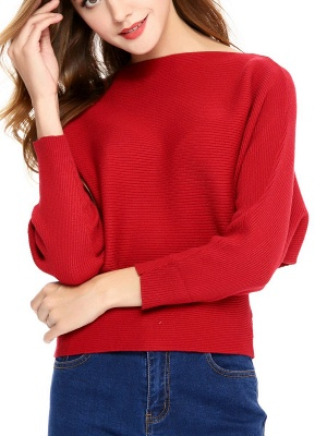 Slash Neck Batwing Simple Solid Sweater_1