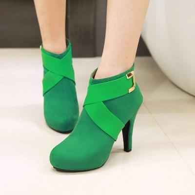 Stiletto Heel Zipper Suede Lace-up Cone Heel Round Toe Boots_4