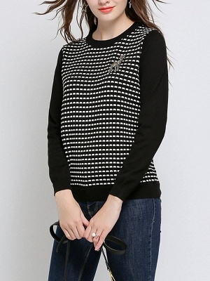 Black Long Sleeve Beaded Casual Crew Neck Sweater_6