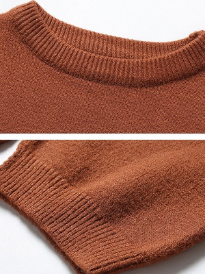 Casual Paneled Long Sleeve Solid Crew Neck Sweater_7