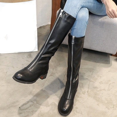 Fashion Zipper Chunky Heel Boot_4
