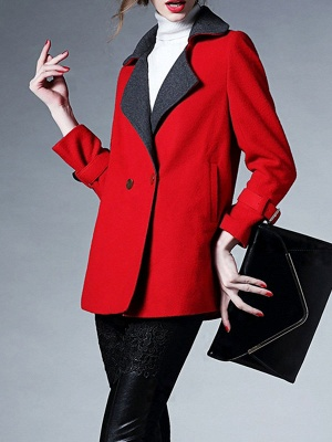 Red Shawl Collar Solid Long Sleeve Casual Coat_4