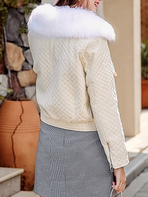 Long Sleeve Casual Paneled Shawl Collar Pockets Zipper Fluffy  Coat_4