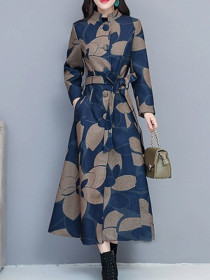 Printed Stand Collar Buttoned Pockets A-line Coat_6