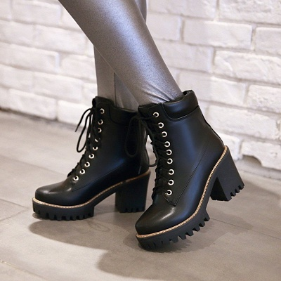 Daily Lace-up PU Round Toe Chunky Heel Boots_5