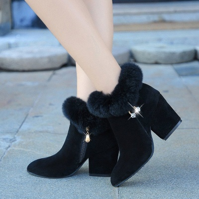 Suede Daily Zipper Chunky Heel Fur Pointed Toe Boot_6