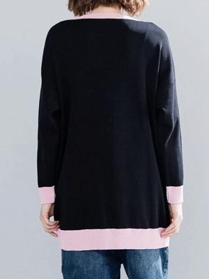 Black Long Sleeve Crew Neck Animal Paneled Sweater_3