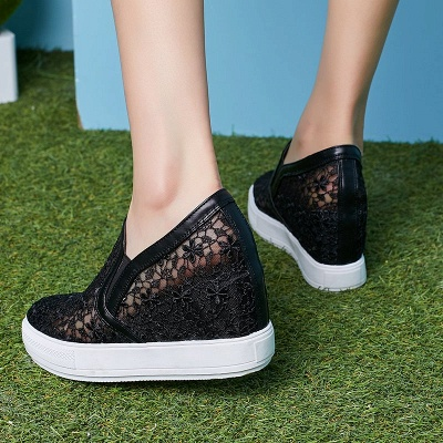 Wedge Heel Embroidery Round Toe Mesh Fabric Loafers_7