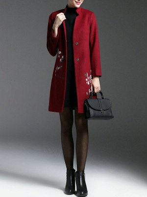 Red Floral-embroidered Pockets Buttoned Coat_5