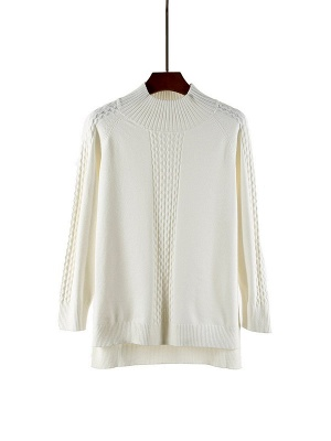 Casual Cable Long Sleeve Crew Neck Sweater_1