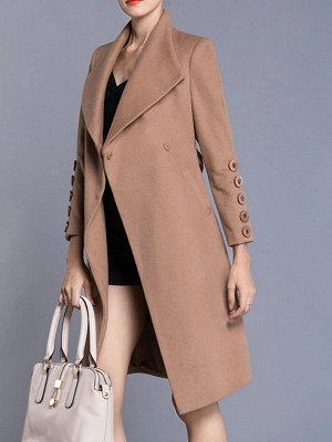 Apricot Long Sleeve Solid Buttoned Pockets Coat_4