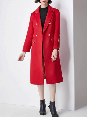 Red Buttoned Solid Work Pockets Lapel Coat_5
