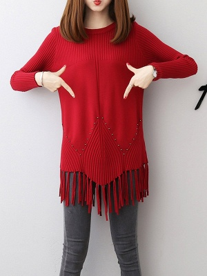 Casual Long Sleeve Crew Neck Sweater_9