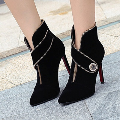 Zipper Daily Stiletto Heel Suede Pointed Toe Elegant Boots_6