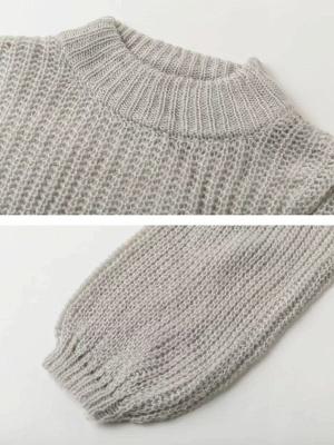 Plain Casual Balloon Sleeve Sweater_9