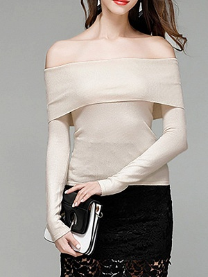 Shift Off Shoulder Solid Casual Long Sleeve Sweater_7