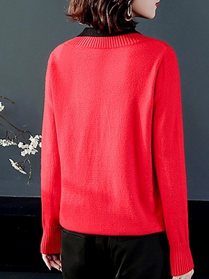 Long Sleeve Solid Casual Piping Sweater_6