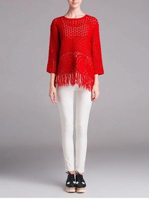 Red Geometric Shift Long Sleeve Sweater_4