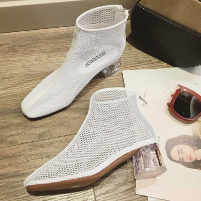 Zipper Daily Mesh Chunky Heel Boots_1