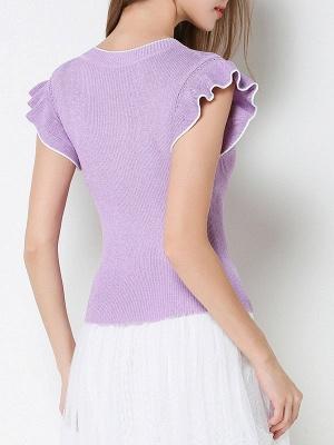 Ice Yarn Knitted V neck Elegant Frill Sleeve Ruffled Sweater_4