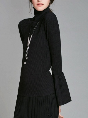 Turtle Neck Casual Bell Sleeve Pleated Sweater_10