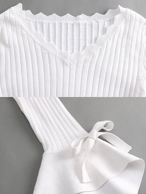 White Casual Frill Sleeve Solid Sweater_8