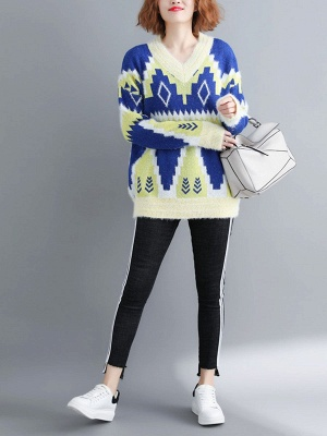 Printed Casual Long Sleeve Sweater_2