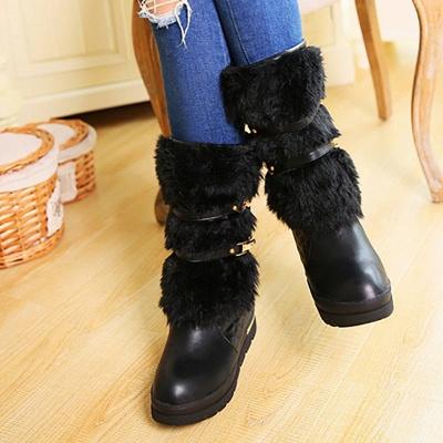 Women's Boots Black Wedge Heel Round Toe Buckle Boots_5