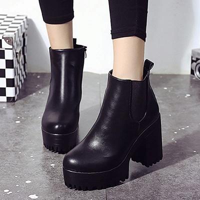 Daily Chunky Heel Round Toe Elegant Boots_2
