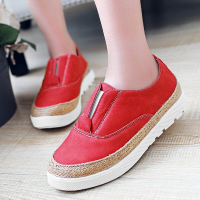Summer Casual Round Toe Denim Wedge Loafers_1