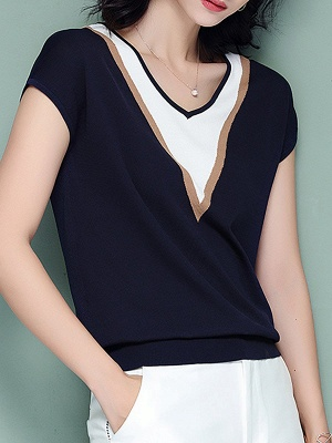 Short Sleeve Knitted Paneled Casual Sweater_4