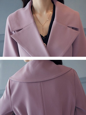 Bell Sleeve Casual Solid A-line Lapel Pockets Buttoned Paneled Coat_10