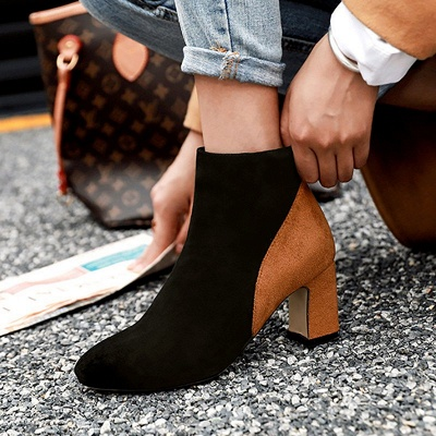 Women Daily Chunky Heel Suede Color Block Boots_5