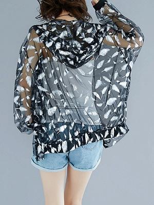Chiffon Long Sleeve See-through Look Printed Casual Coat_4