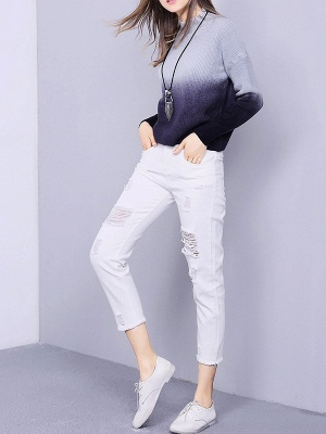 Blue Shift Knitted Casual Crew Neck Long Sleeve Knit Top_4