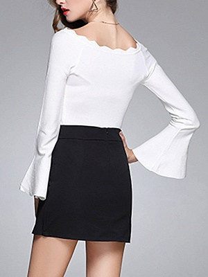 Sheath Solid Casual Crew Neck Frill Sleeve Sweater_8