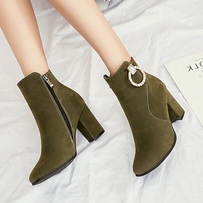 Suede Chunky Heel Working Square Toe Boots_9