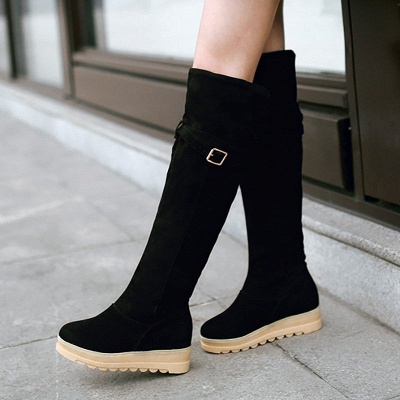 Suede Daily Wedge Heel Buckle Casual Boot_3