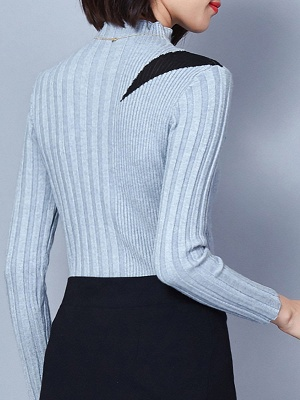 Solid Casual Long Sleeve Turtleneck Sweater_5