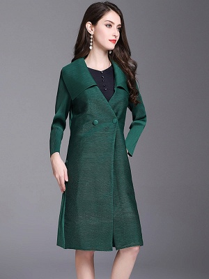 Shift Buttoned Pleated Shawl Collar Coat_4
