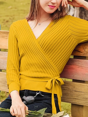Casual Long Sleeve Shift V neck Sweater_3