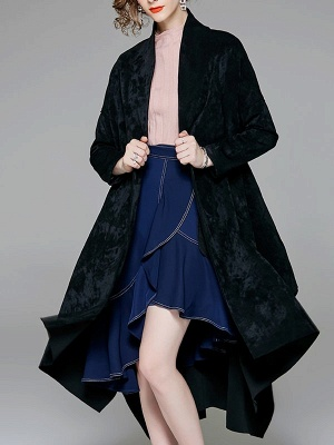 Red Buttoned Asymmetrical Long Sleeve Coat_10