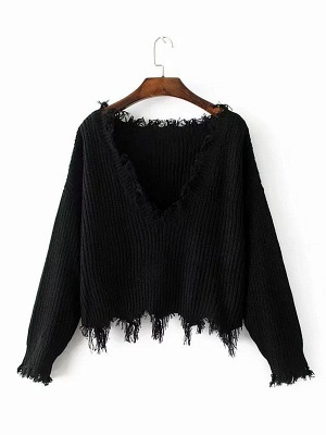 Dark blue Fringed Casual Cotton Batwing Sweater_3