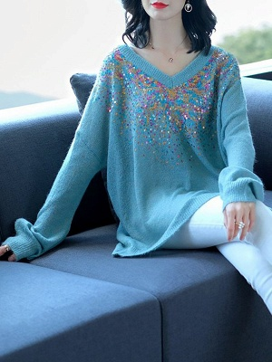 Blue V neck Long Sleeve Shift Casual Sweater_3