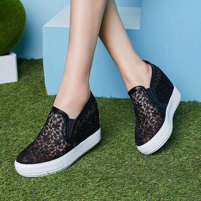 Wedge Heel Embroidery Round Toe Mesh Fabric Loafers_4
