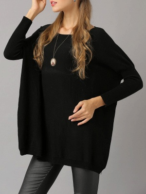 Shift Paneled Solid Casual Long Sleeve Sweater_4