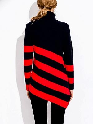 Navy Blue Sheath Casual Sweater_3