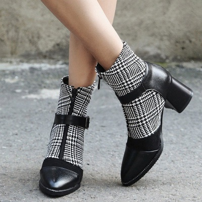 Daily Zipper Pointed Toe Buckle Chunky Heel Boots_3