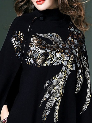 Black Elegant Shift Glitter-finished Animal Sweater_3